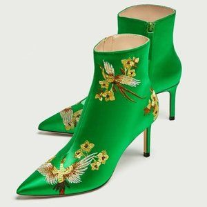 ZARA Embroidered Satin Ankle Boots Phoenix Green